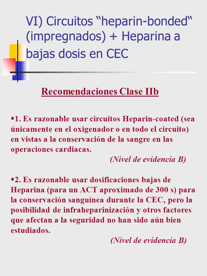 1. Es razonable usar circuitos Heparin-coated (sea únicamente en el oxigenador o en todo el circuito) en vistas a la conservación de la sangre en las