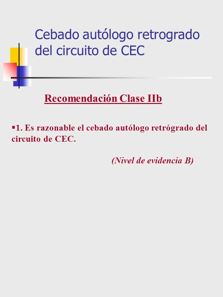 1. Es razonable el cebado autólogo retrógrado del circuito de CEC. (Nivel de evidencia B) Cebado autólogo retrogrado del circuito de CEC Recomendación