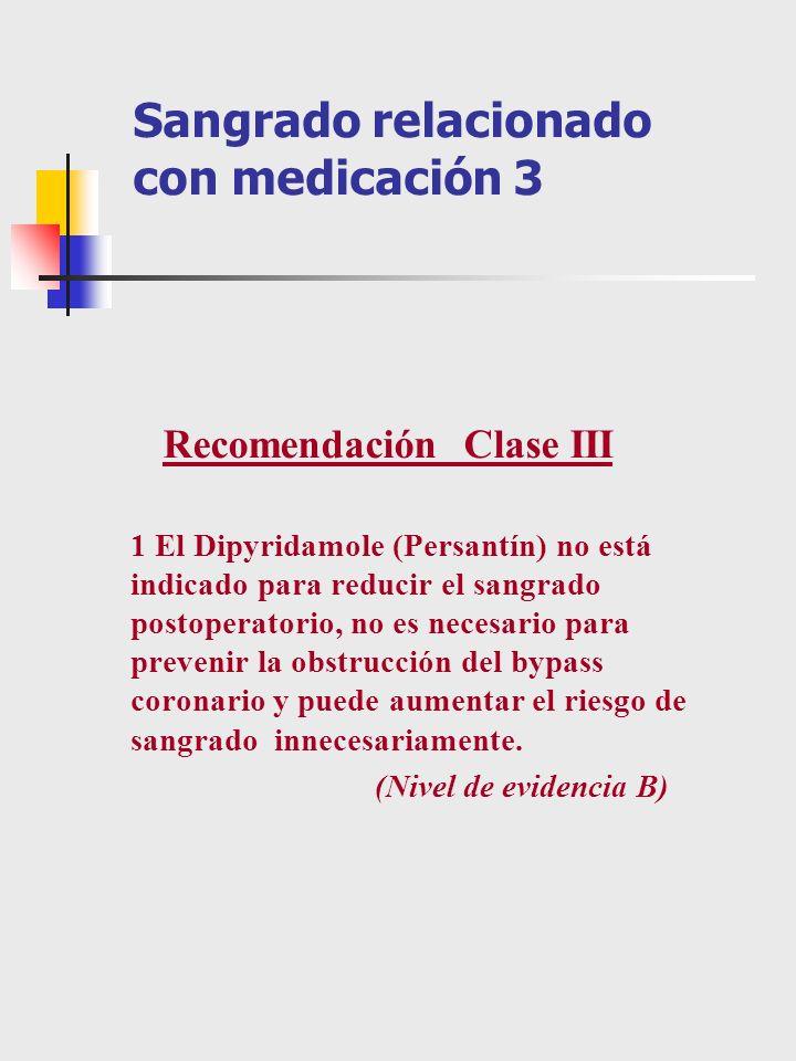 Sangrado relacionado con medicación 3 Recomendación Clase III 1 El Dipyridamole (Persantín) no está indicado para reducir el sangrado postoperatorio,