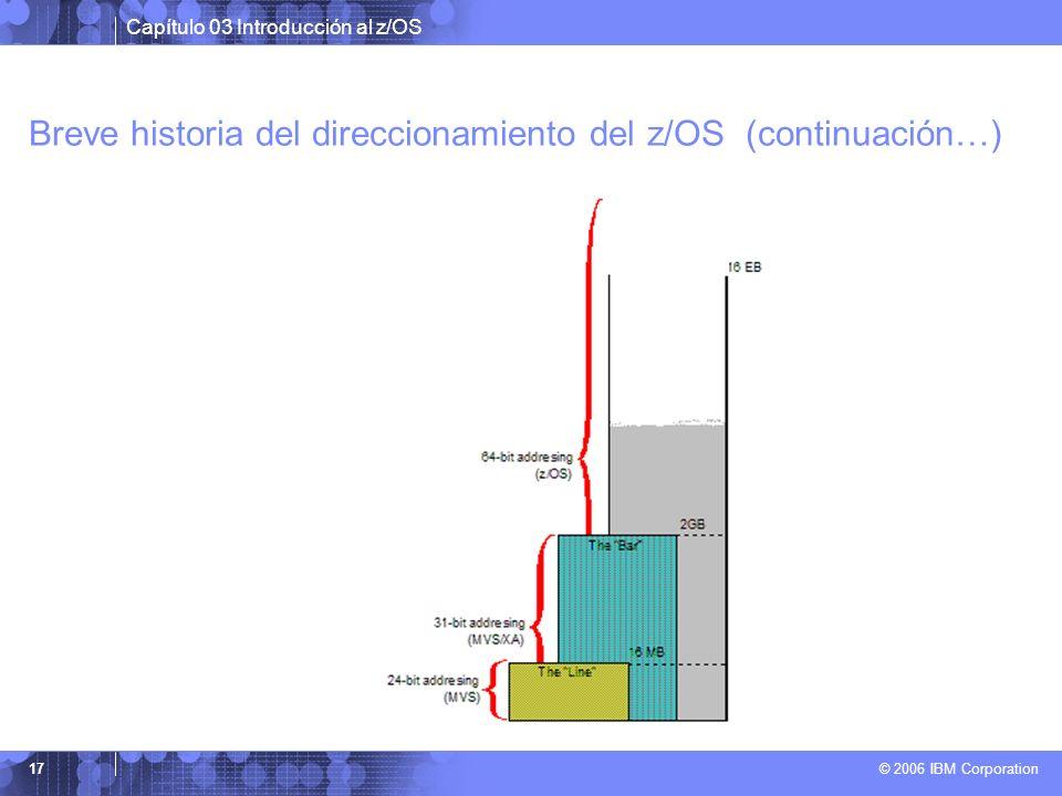 Capítulo 03 Introducción al z/OS © 2006 IBM Corporation 17 Breve historia del direccionamiento del z/OS (continuación…)