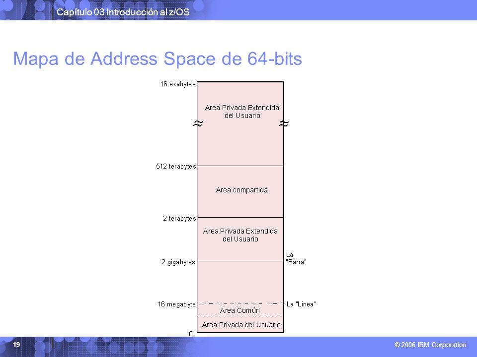 Capítulo 03 Introducción al z/OS © 2006 IBM Corporation 19 Mapa de Address Space de 64-bits