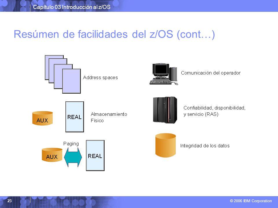 Capítulo 03 Introducción al z/OS © 2006 IBM Corporation 23 Resúmen de facilidades del z/OS (cont…)