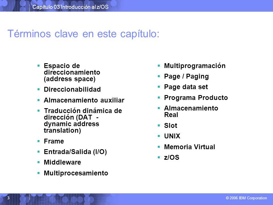 Capítulo 03 Introducción al z/OS © 2006 IBM Corporation 3 Términos clave en este capítulo: Espacio de direccionamiento (address space) Direccionabilid