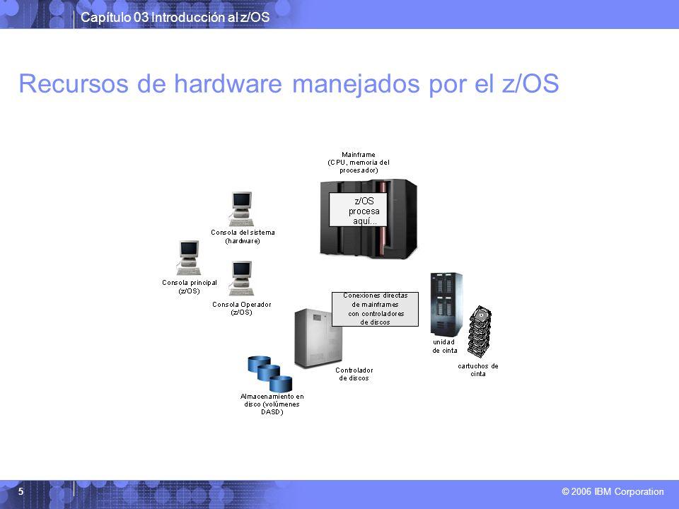 Capítulo 03 Introducción al z/OS © 2006 IBM Corporation 5 Recursos de hardware manejados por el z/OS