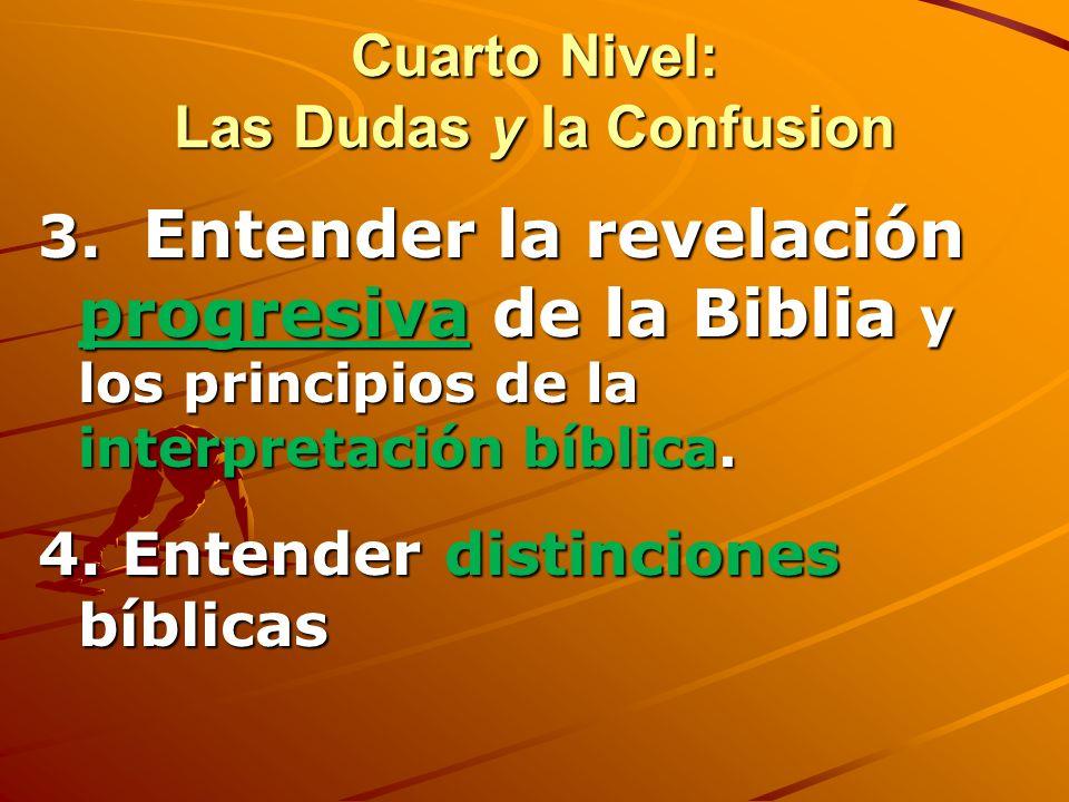 Cuarto Nivel de Estudio Biblico: Las Dudas y la Confusion – Heb. 5:11-6:3 1. Advierte de las falsas bases de FE que puedan confundirnos 2. Fundamentar