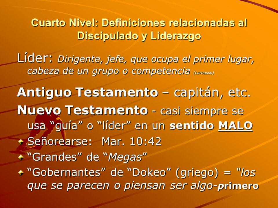 Cuarto Nivel: Definiciones relacionadas al Discipulado y Liderazgo Discípulo: APRENDIZ o seguidor Discípulo: APRENDIZ o seguidor después de los Hechos