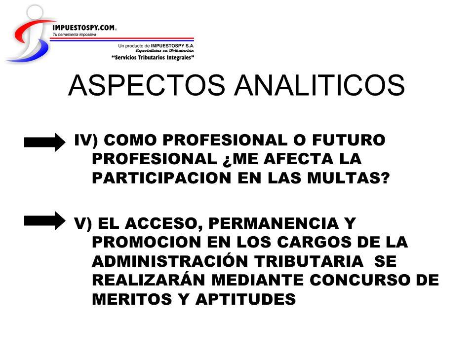 ASPECTOS ANALITICOS IV) COMO PROFESIONAL O FUTURO PROFESIONAL ¿ME AFECTA LA PARTICIPACION EN LAS MULTAS? V) EL ACCESO, PERMANENCIA Y PROMOCION EN LOS