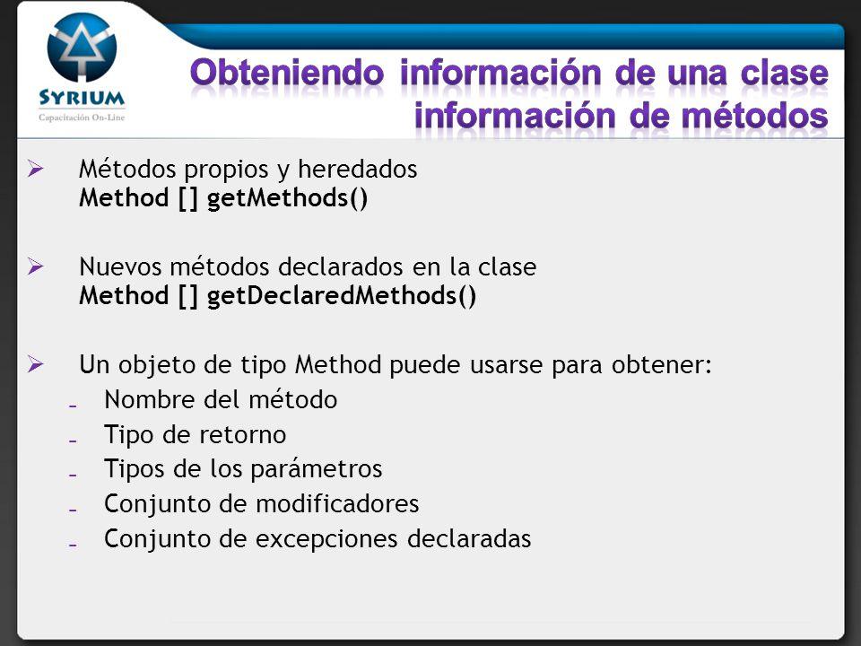 Métodos propios y heredados Method [] getMethods() Nuevos métodos declarados en la clase Method [] getDeclaredMethods() Un objeto de tipo Method puede