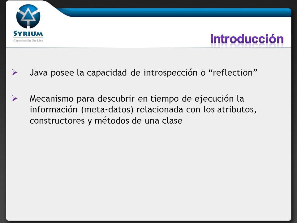 Java posee la capacidad de introspección o reflection Mecanismo para descubrir en tiempo de ejecución la información (meta-datos) relacionada con los