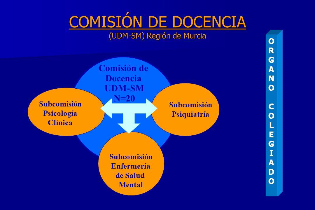 COMISIÓN DE DOCENCIA (UDM-SM) Región de Murcia Subcomisión Psicología Clínica Subcomisión Enfermería de Salud Mental Subcomisión Psiquiatría Comisión