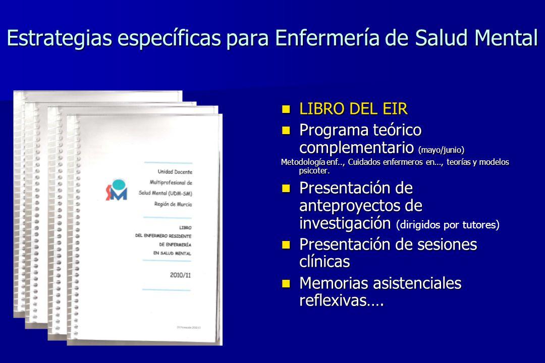 Estrategias específicas para Enfermería de Salud Mental LIBRO DEL EIR LIBRO DEL EIR Programa teórico complementario (mayo/junio) Programa teórico comp