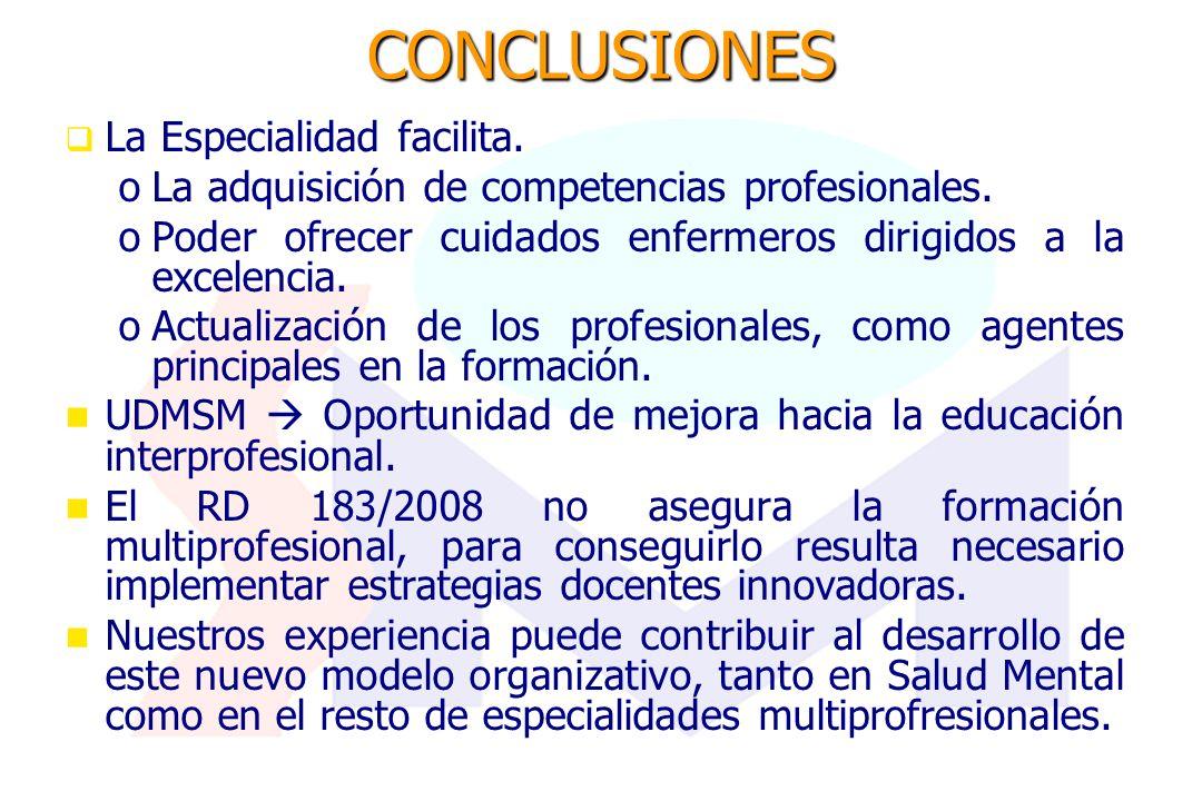 CONCLUSIONES La Especialidad facilita. o oLa adquisición de competencias profesionales. o oPoder ofrecer cuidados enfermeros dirigidos a la excelencia