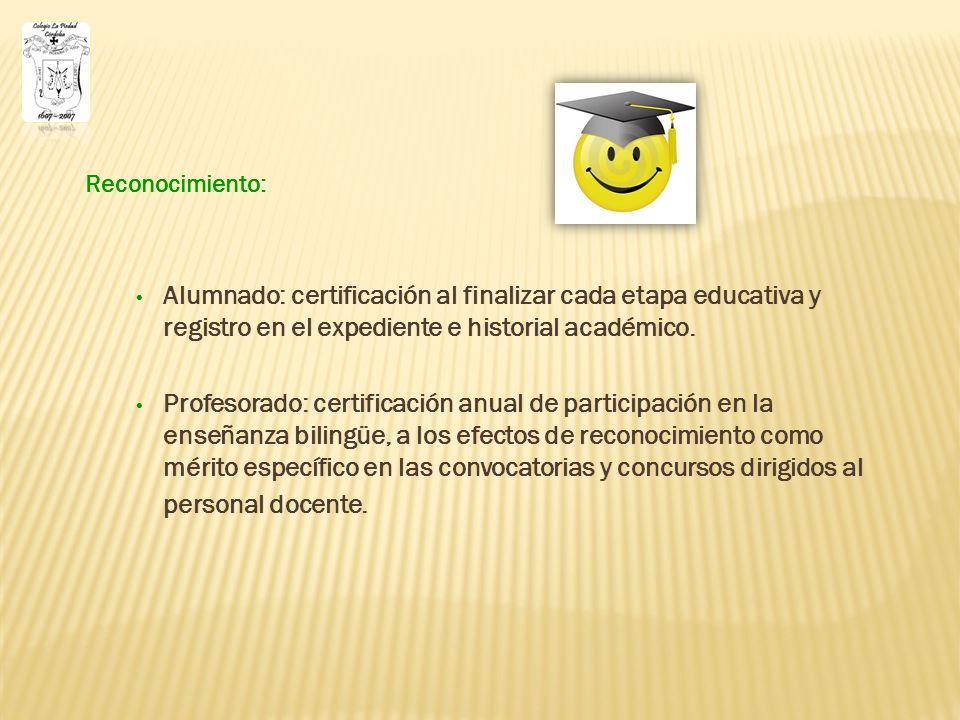 Reconocimiento: Alumnado: certificación al finalizar cada etapa educativa y registro en el expediente e historial académico.