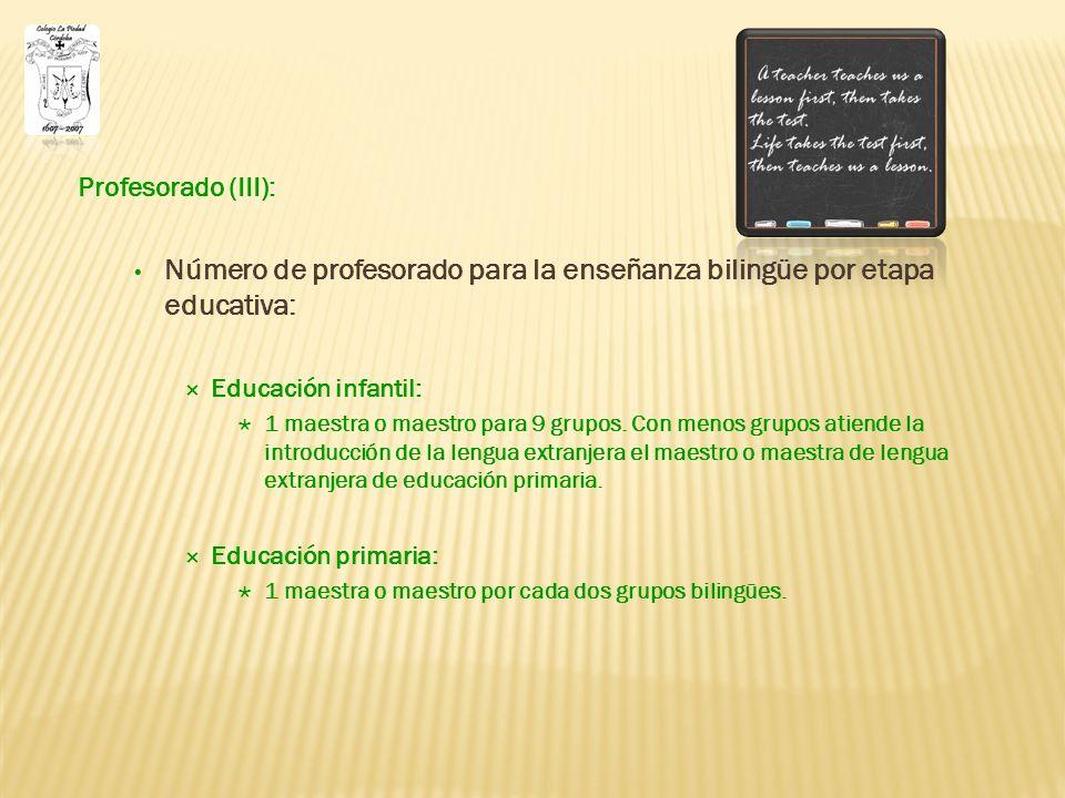 Profesorado (III): Número de profesorado para la enseñanza bilingüe por etapa educativa: Educación infantil: 1 maestra o maestro para 9 grupos.