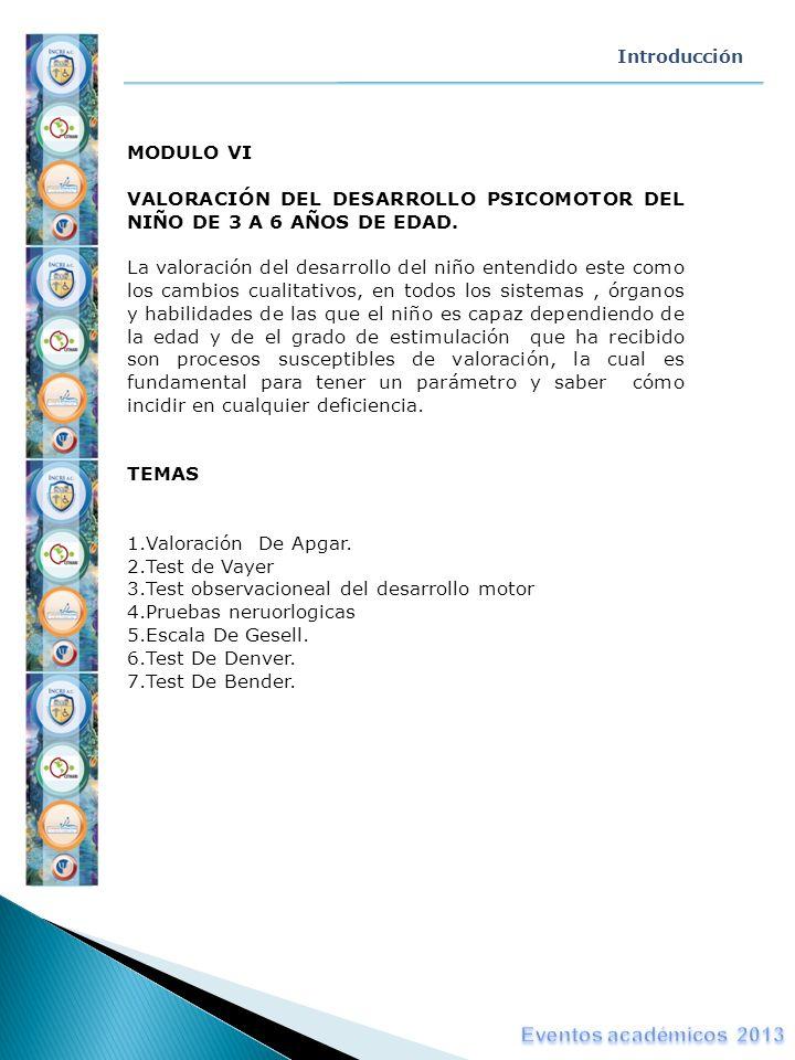 Introducción MODULO VI VALORACIÓN DEL DESARROLLO PSICOMOTOR DEL NIÑO DE 3 A 6 AÑOS DE EDAD. La valoración del desarrollo del niño entendido este como