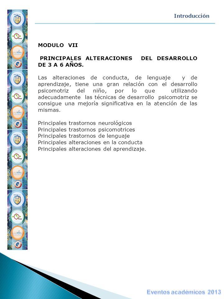 Introducción MODULO VII PRINCIPALES ALTERACIONES DEL DESARROLLO DE 3 A 6 AÑOS. Las alteraciones de conducta, de lenguaje y de aprendizaje, tiene una g