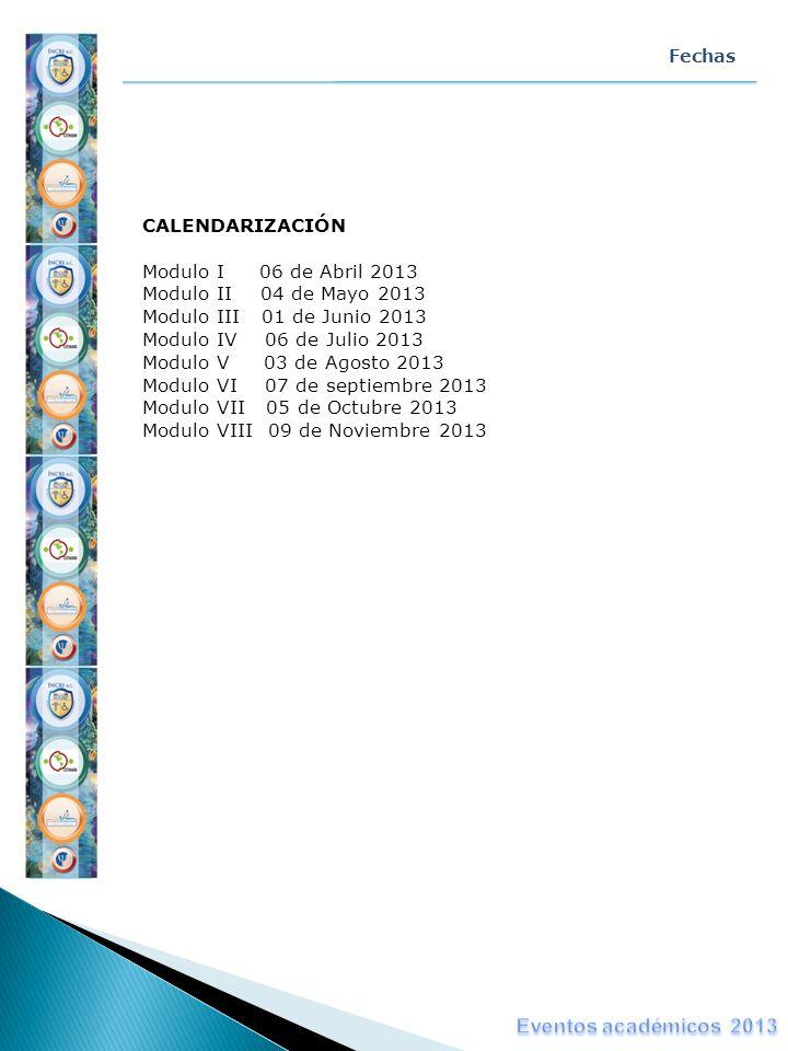 CALENDARIZACIÓN Modulo I 06 de Abril 2013 Modulo II 04 de Mayo 2013 Modulo III 01 de Junio 2013 Modulo IV 06 de Julio 2013 Modulo V 03 de Agosto 2013
