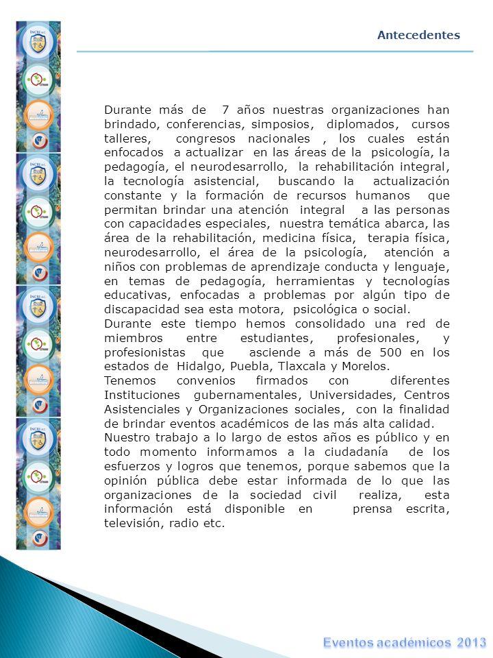 Visión y Misión MISIÓN Brindar capacitación continua de la más alta calidad en áreas del desarrollo humano vinculadas con la habilitación y rehabilitación integral humana, a través de la organización de eventos académicos; diplomados, congresos, talleres, conferencias, simposios, jornadas etc., con la finalidad de brindar a los profesionales relacionados con este ámbito un desarrollo académico y científico de la más alta calidad VISIÓN Ser la organización rectora a nivel nacional en lo referente a la capacitación académica, que coadyuve en la habilitación y rehabilitación integral del ser humano, con el fin de fomentar el desarrollo profesional y científico de los estudiantes y/o profesionistas concernientes, a través del desarrollo de grupos inter y multidisciplinarios.