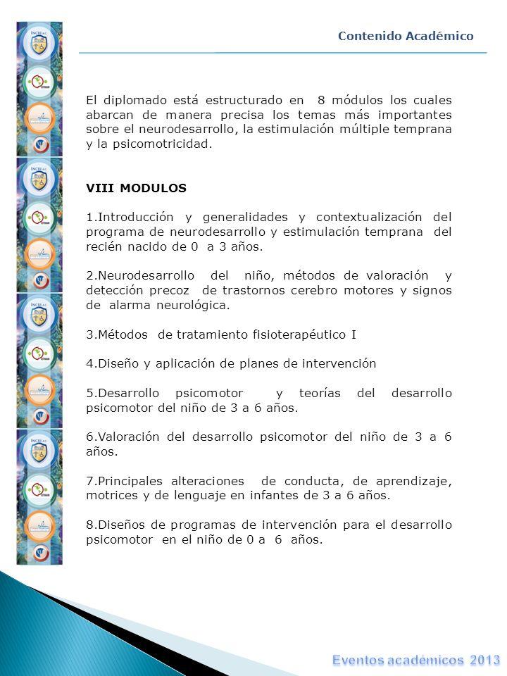Contenido Académico El diplomado está estructurado en 8 módulos los cuales abarcan de manera precisa los temas más importantes sobre el neurodesarroll