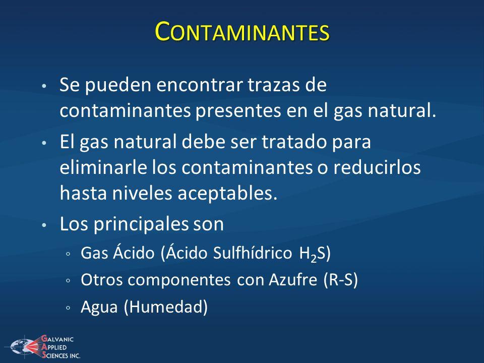 Se pueden encontrar trazas de contaminantes presentes en el gas natural. El gas natural debe ser tratado para eliminarle los contaminantes o reducirlo