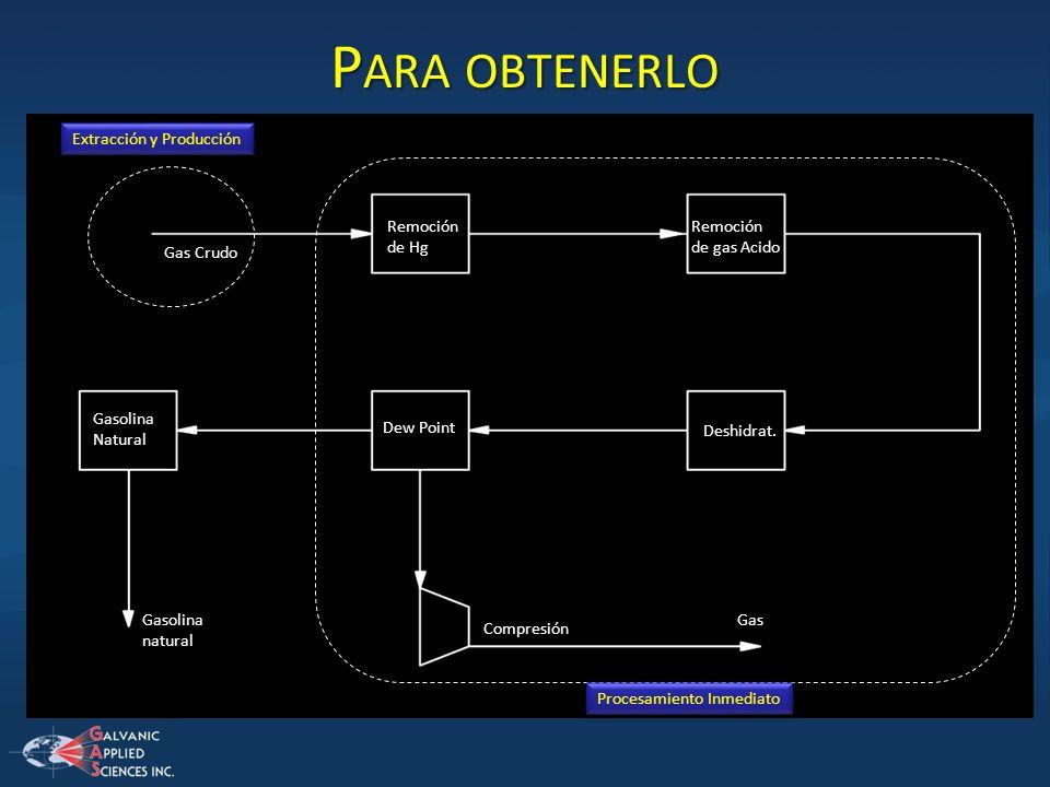 P ARA OBTENERLO Gas Crudo Remoción de Hg Remoción de gas Acido Deshidrat. Dew Point Compresión Gas Gasolina Natural Gasolina natural Extracción y Prod