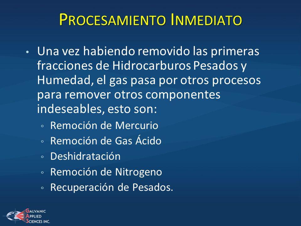 P ROCESAMIENTO I NMEDIATO Una vez habiendo removido las primeras fracciones de Hidrocarburos Pesados y Humedad, el gas pasa por otros procesos para re