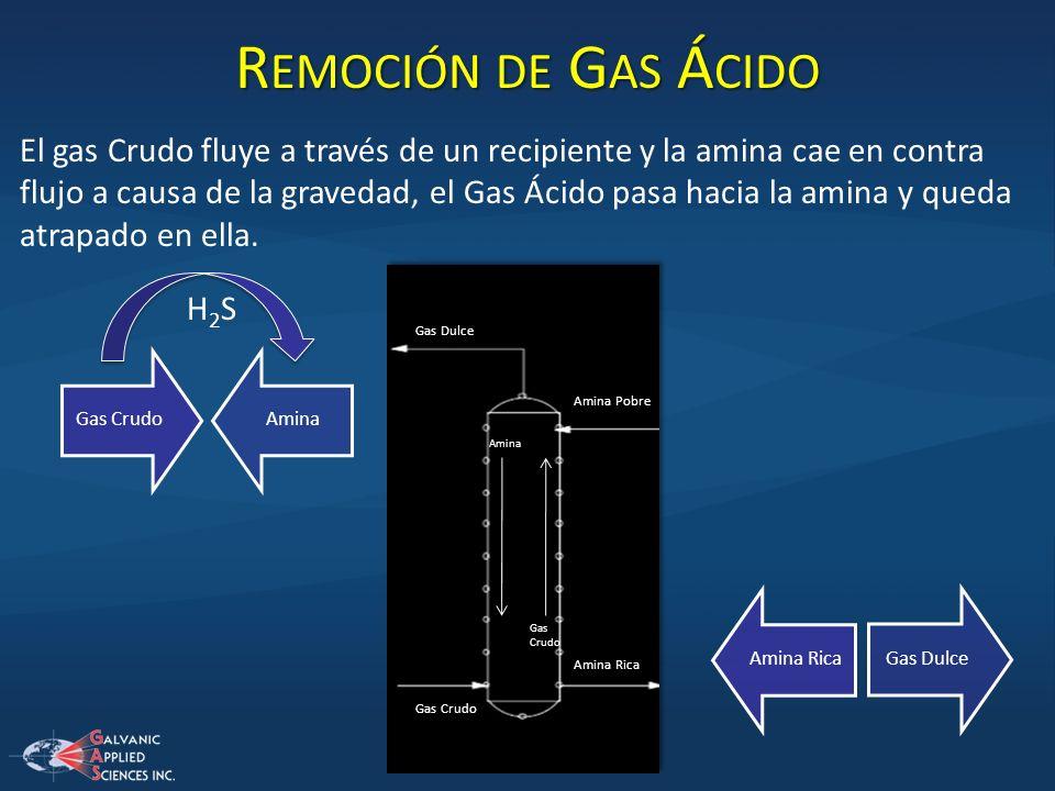 R EMOCIÓN DE G AS Á CIDO El gas Crudo fluye a través de un recipiente y la amina cae en contra flujo a causa de la gravedad, el Gas Ácido pasa hacia l