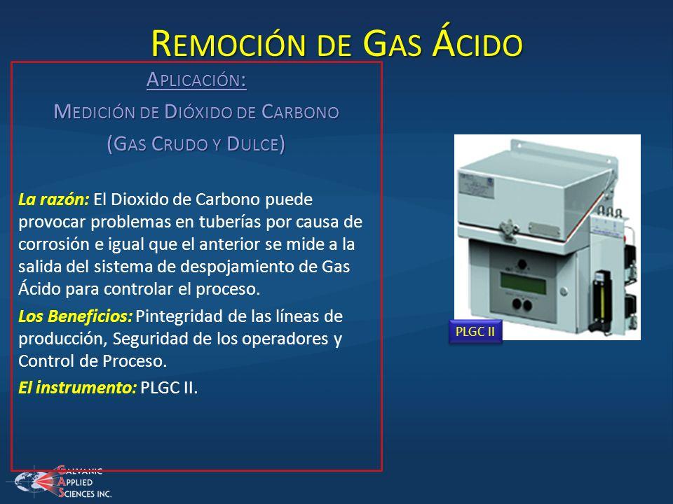 R EMOCIÓN DE G AS Á CIDO A PLICACIÓN : M EDICIÓN DE D IÓXIDO DE C ARBONO (G AS C RUDO Y D ULCE ) La razón: El Dioxido de Carbono puede provocar proble