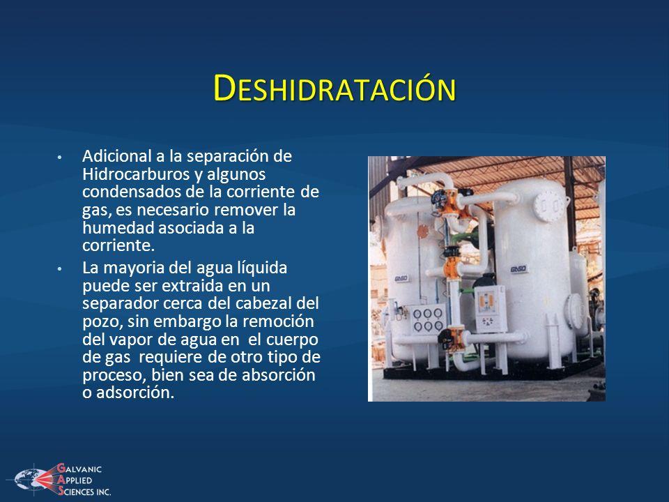 D ESHIDRATACIÓN Adicional a la separación de Hidrocarburos y algunos condensados de la corriente de gas, es necesario remover la humedad asociada a la