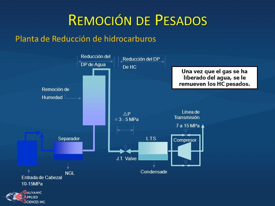 Planta de Reducción de hidrocarburos 10-15MPa Reducción del DP de Agua Entrada de Cabezal NGL Separador Remoción de Humedad J.T. Valve P = 3 - 5 MPa L