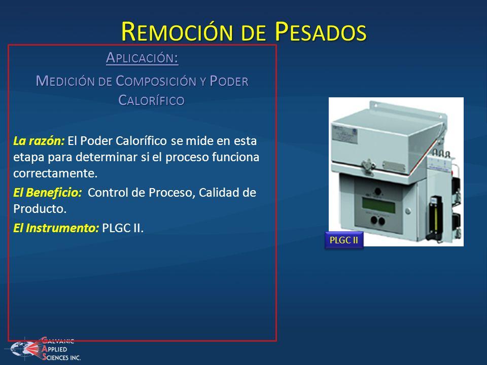 A PLICACIÓN : M EDICIÓN DE C OMPOSICIÓN Y P ODER C ALORÍFICO La razón: El Poder Calorífico se mide en esta etapa para determinar si el proceso funcion