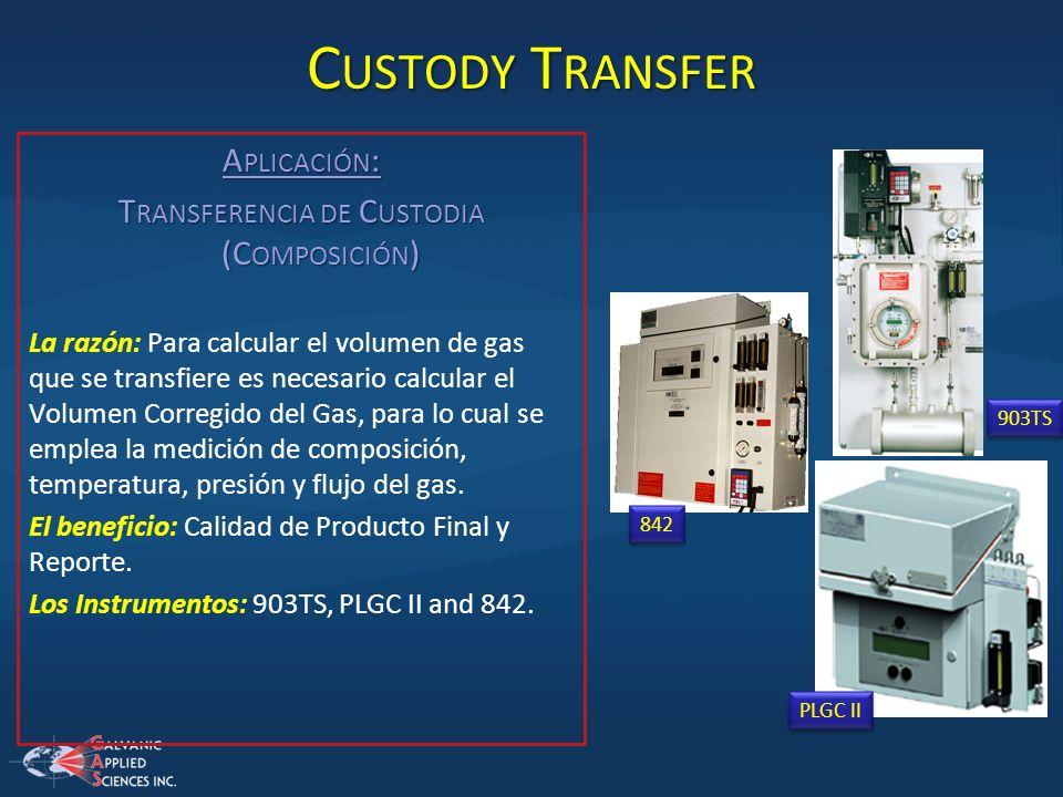 C USTODY T RANSFER A PLICACIÓN : T RANSFERENCIA DE C USTODIA (C OMPOSICIÓN ) La razón: Para calcular el volumen de gas que se transfiere es necesario