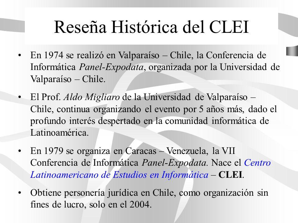 Reseña Histórica del CLEI En 1974 se realizó en Valparaíso – Chile, la Conferencia de Informática Panel-Expodata, organizada por la Universidad de Val
