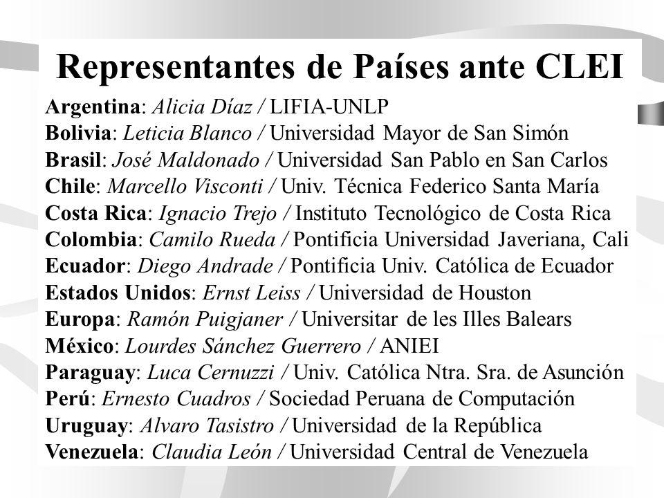 Representantes de Países ante CLEI Argentina: Alicia Díaz / LIFIA-UNLP Bolivia: Leticia Blanco / Universidad Mayor de San Simón Brasil: José Maldonado / Universidad San Pablo en San Carlos Chile: Marcello Visconti / Univ.