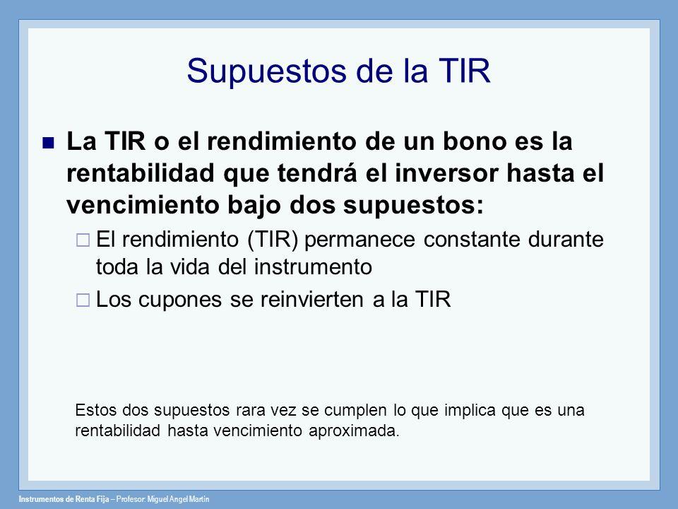Instrumentos de Renta Fija – Profesor: Miguel Angel Martín Supuestos de la TIR La TIR o el rendimiento de un bono es la rentabilidad que tendrá el inv