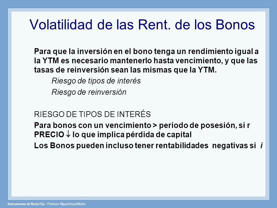 Instrumentos de Renta Fija – Profesor: Miguel Angel Martín Volatilidad de las Rent. de los Bonos Para que la inversión en el bono tenga un rendimiento