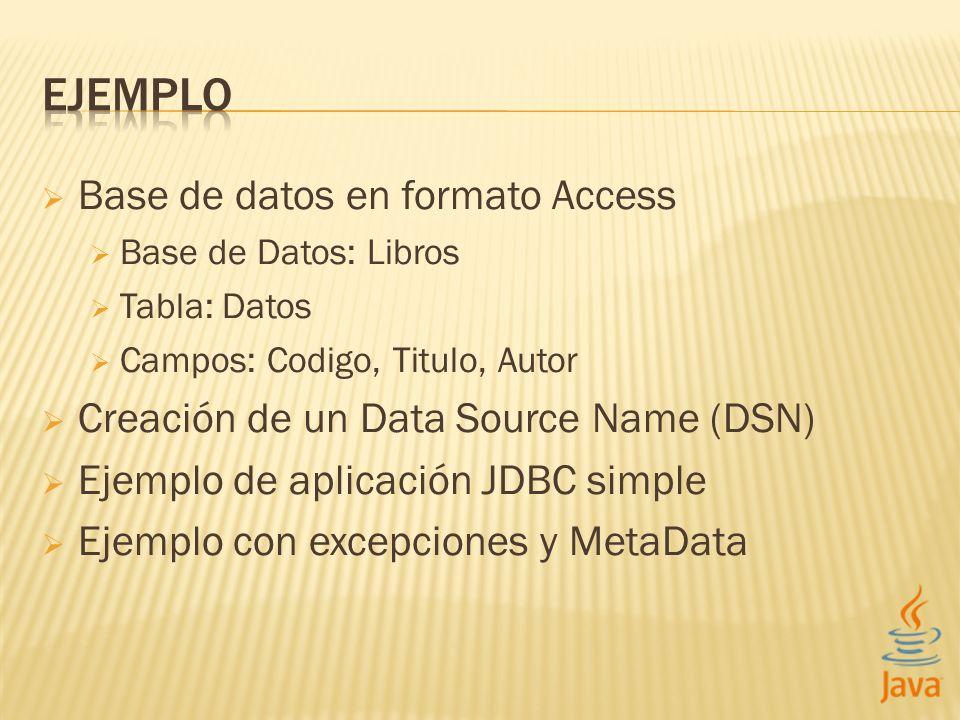 Base de datos en formato Access Base de Datos: Libros Tabla: Datos Campos: Codigo, Titulo, Autor Creación de un Data Source Name (DSN) Ejemplo de apli