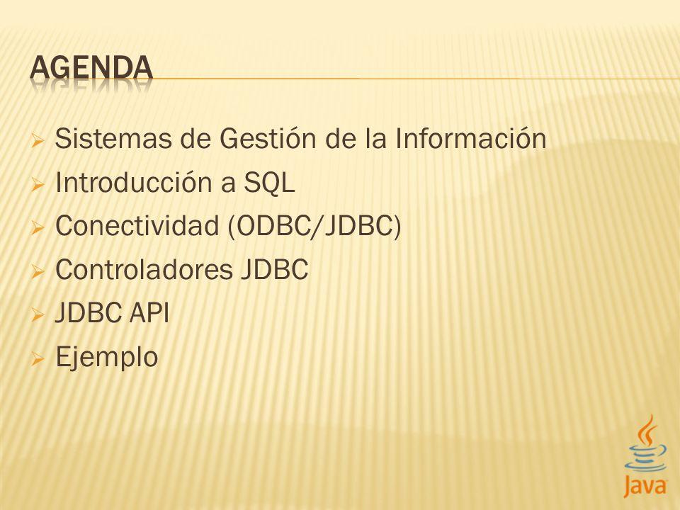 Sistemas de Gestión de la Información Introducción a SQL Conectividad (ODBC/JDBC) Controladores JDBC JDBC API Ejemplo