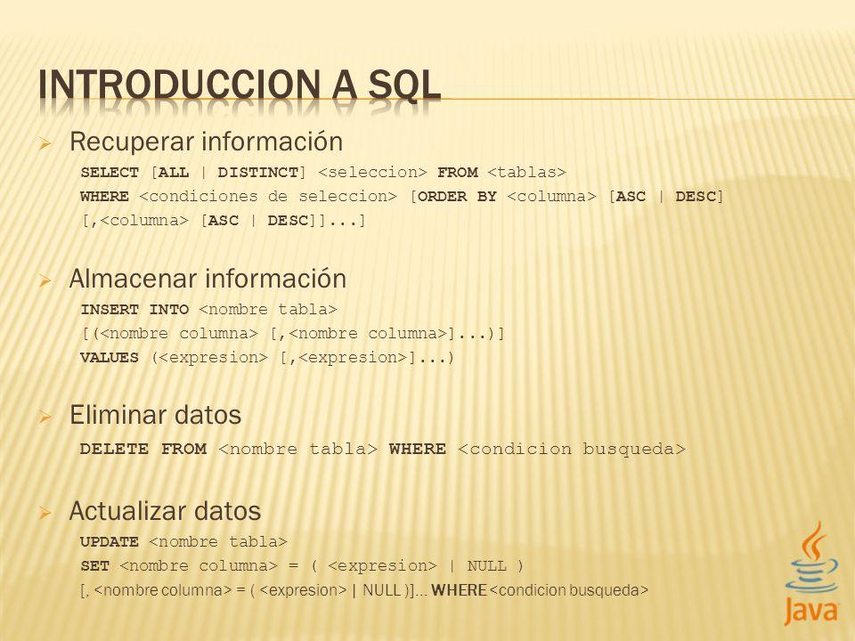 Recuperar información SELECT [ALL | DISTINCT] FROM WHERE [ORDER BY [ASC | DESC] [, [ASC | DESC]]...] Almacenar información INSERT INTO [( [, ]...)] VA