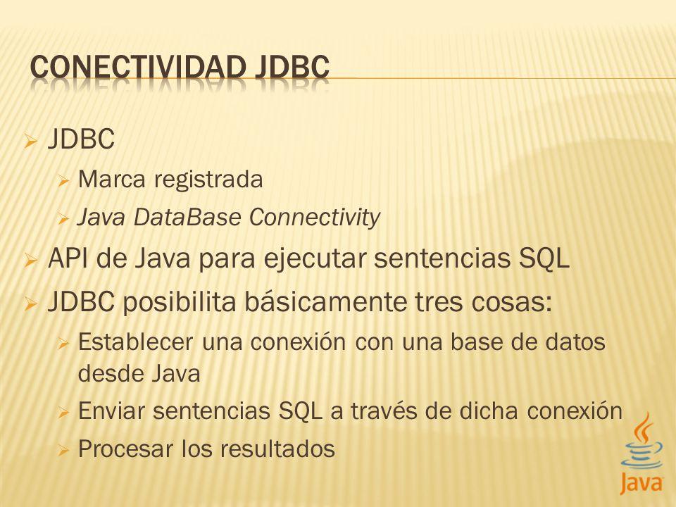 JDBC Marca registrada Java DataBase Connectivity API de Java para ejecutar sentencias SQL JDBC posibilita básicamente tres cosas: Establecer una conex