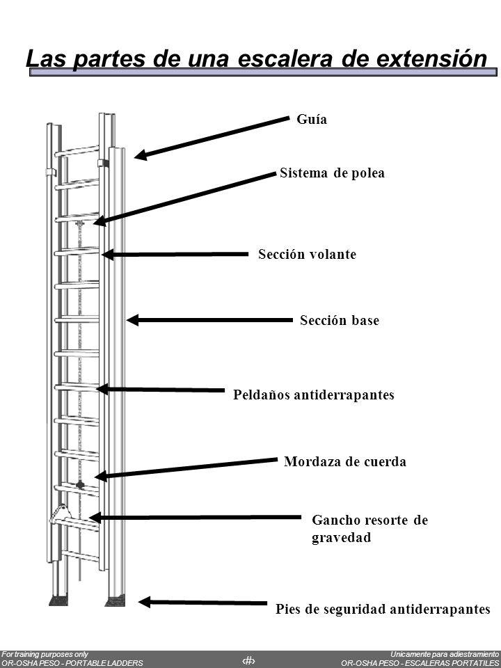 Unicamente para adiestramiento OR-OSHA PESO - ESCALERAS PORTATILES For training purposes only OR-OSHA PESO - PORTABLE LADDERS 14 Always choose the correct ladder for the job.