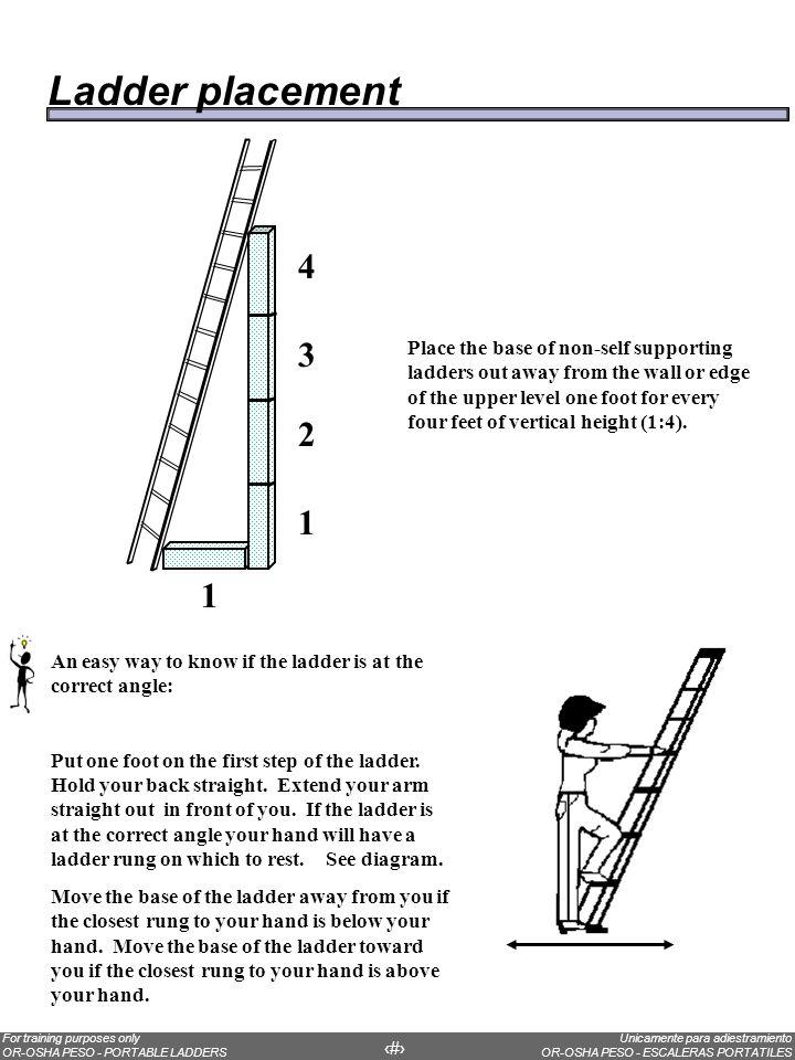 Unicamente para adiestramiento OR-OSHA PESO - ESCALERAS PORTATILES For training purposes only OR-OSHA PESO - PORTABLE LADDERS 21 Una manera fácil de saber si la escalera esta al ángulo correcto: Ponga un pie sobre el primer escalón de la escalera.
