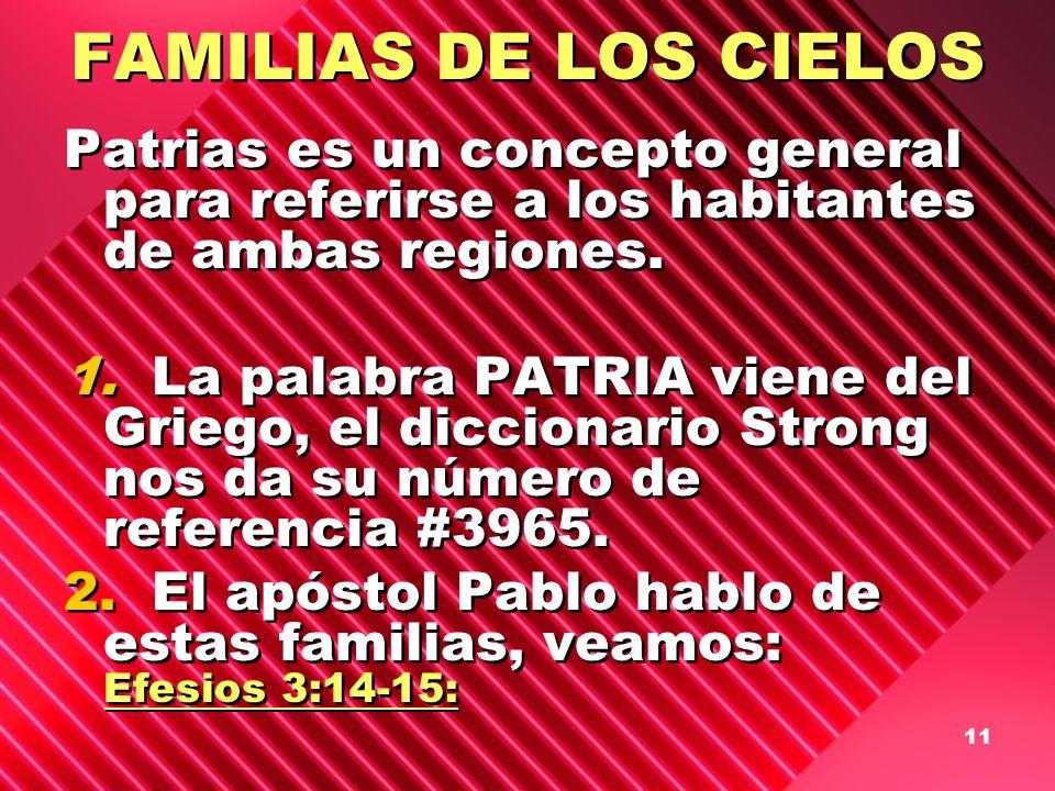 11 FAMILIAS DE LOS CIELOS Patrias es un concepto general para referirse a los habitantes de ambas regiones. 1. La palabra PATRIA viene del Griego, el