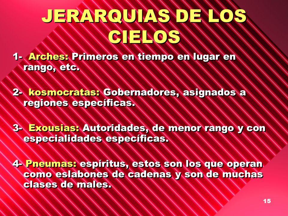 15 JERARQUIAS DE LOS CIELOS 1- Arches: Primeros en tiempo en lugar en rango, etc. 2- kosmocratas: Gobernadores, asignados a regiones específicas. 3- E