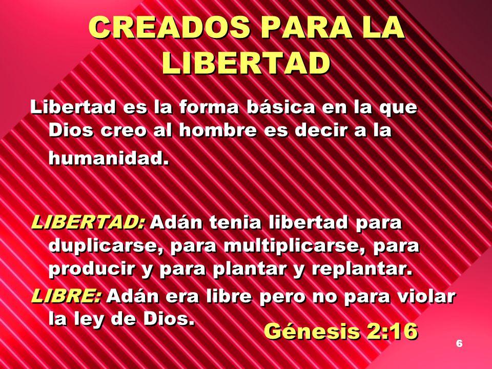 6 CREADOS PARA LA LIBERTAD Libertad es la forma básica en la que Dios creo al hombre es decir a la humanidad. LIBERTAD: Adán tenia libertad para dupli
