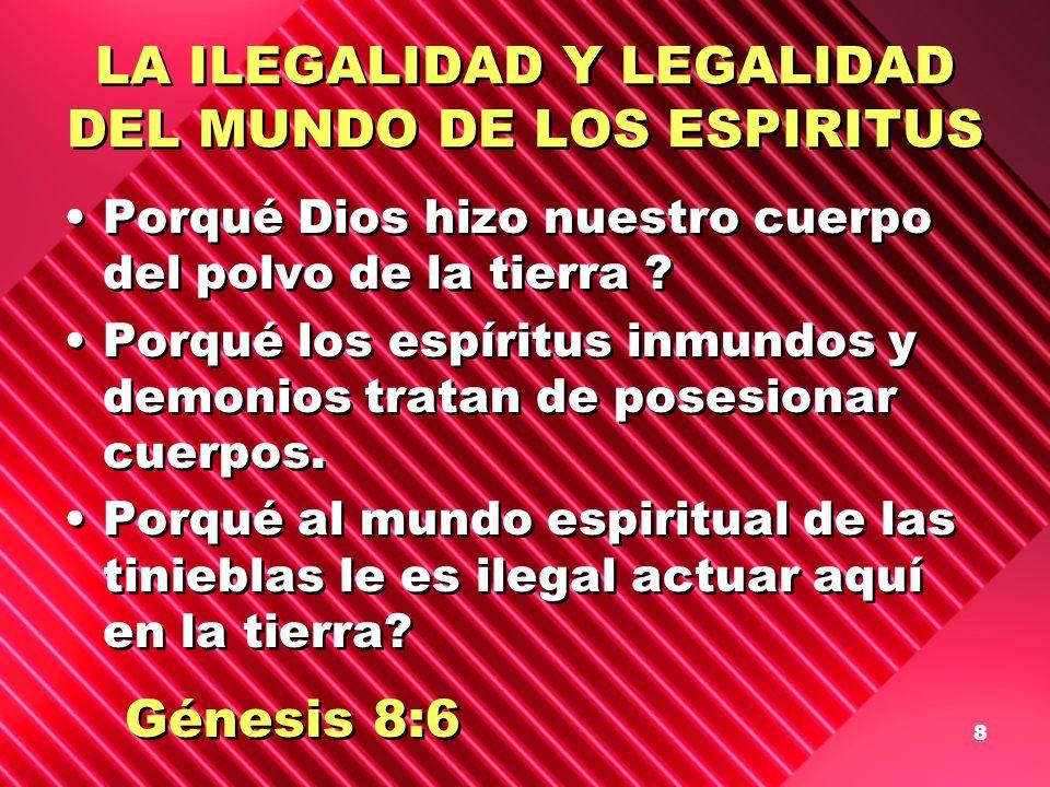 8 LA ILEGALIDAD Y LEGALIDAD DEL MUNDO DE LOS ESPIRITUS Porqué Dios hizo nuestro cuerpo del polvo de la tierra ? Porqué los espíritus inmundos y demoni