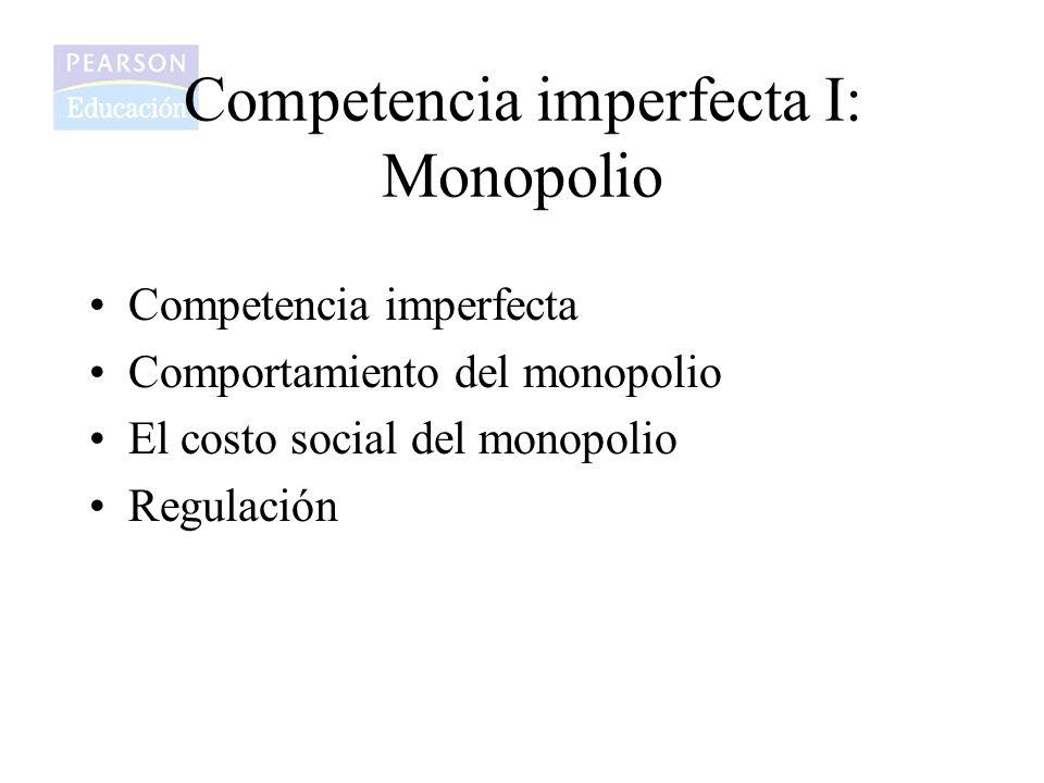 Competencia imperfecta I: Monopolio Competencia imperfecta Comportamiento del monopolio El costo social del monopolio Regulación