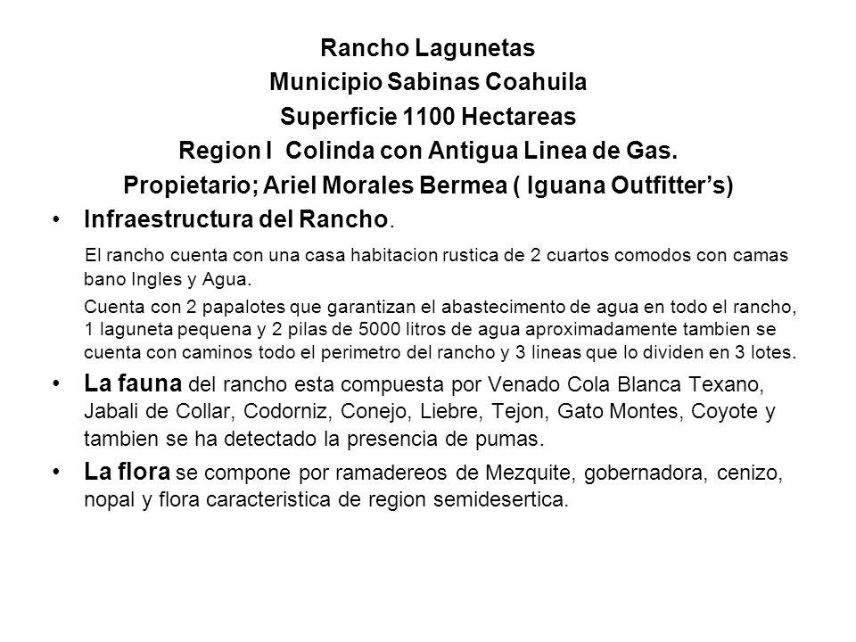 Rancho Lagunetas Municipio Sabinas Coahuila Superficie 1100 Hectareas Region I Colinda con Antigua Linea de Gas. Propietario; Ariel Morales Bermea ( I