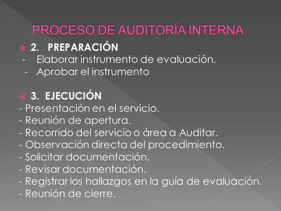 1. PLANIFICACIÓN Objetivo y alcance. Naturaleza y complejidad del servicio. Establecer los criterios de evaluación. Determinar los recursos necesarios