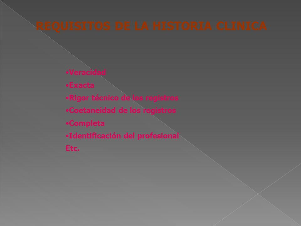 CARACTERISTICAS DE LA HISTORIA CLINICA Confidencialidad Seguridad Disponibilidad Única Legible